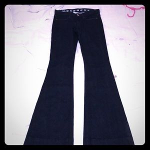Earnest Sewn Dark Blue Flare Jeans Stretch